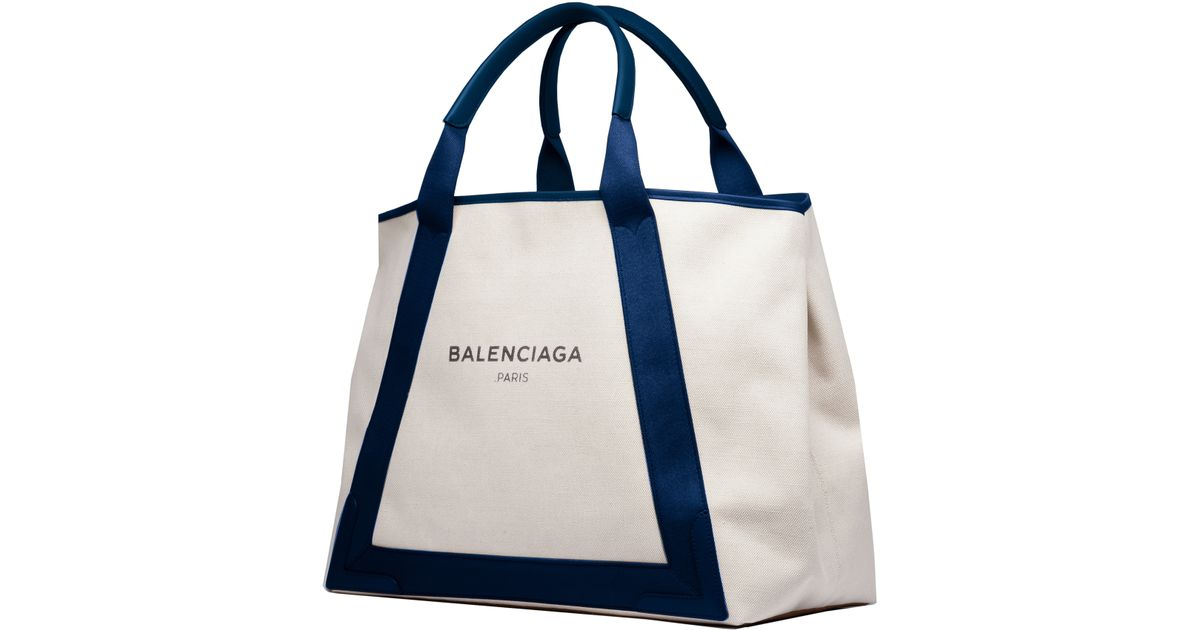 838f5df2705 Balenciaga Navy Cabas M Canvas Tote in Natural - Lyst