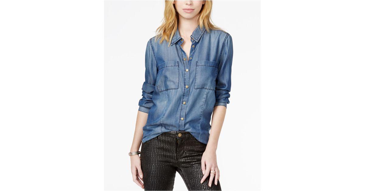 Guess Long Sleeve Denim Shirt In Blue Lyst