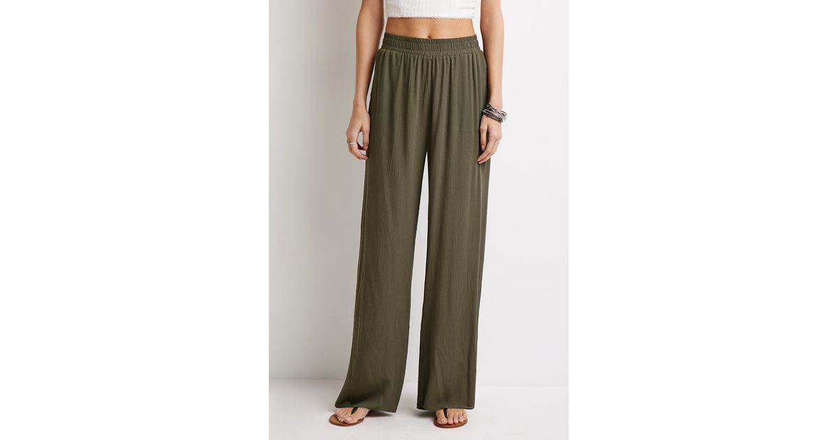 Forever 21 Crinkled Palazzo Pants In Green Lyst