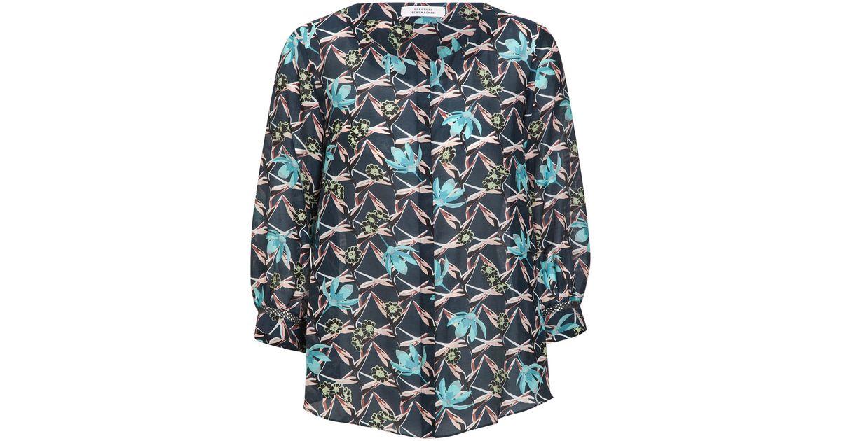 dorothee schumacher exotic taste blouse 3 4 in multicolor paradise blue lyst. Black Bedroom Furniture Sets. Home Design Ideas
