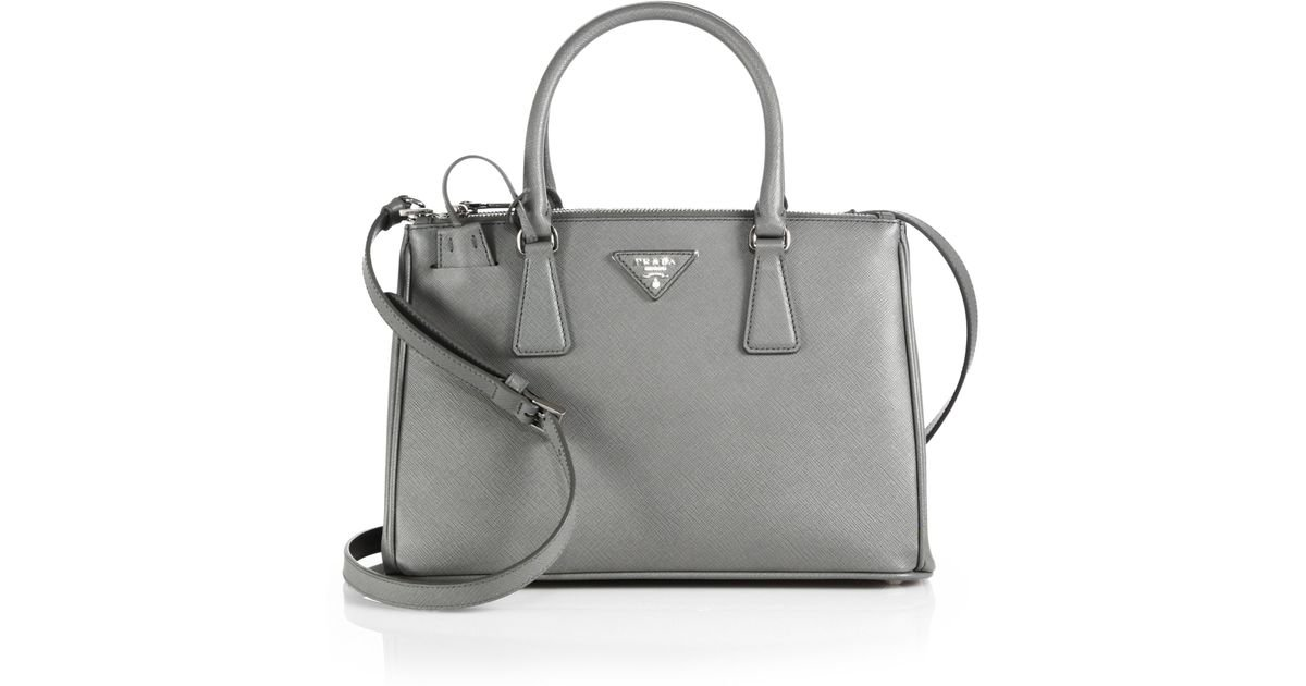 ec12d633c4a0 Lyst - Prada Saffiano Lux Small Double-zip Tote in Gray