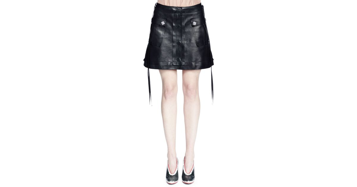 lanvin leather a line mini skirt in black save 40 lyst
