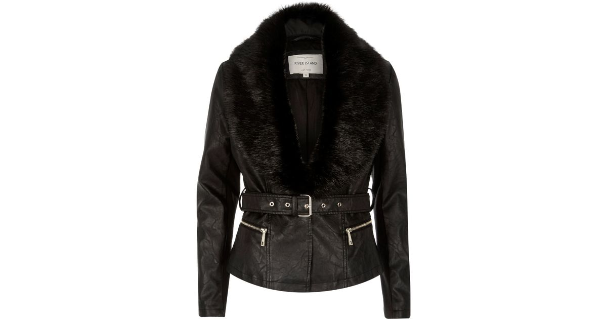 River Island Denim Leopard Fur Collar Jacket