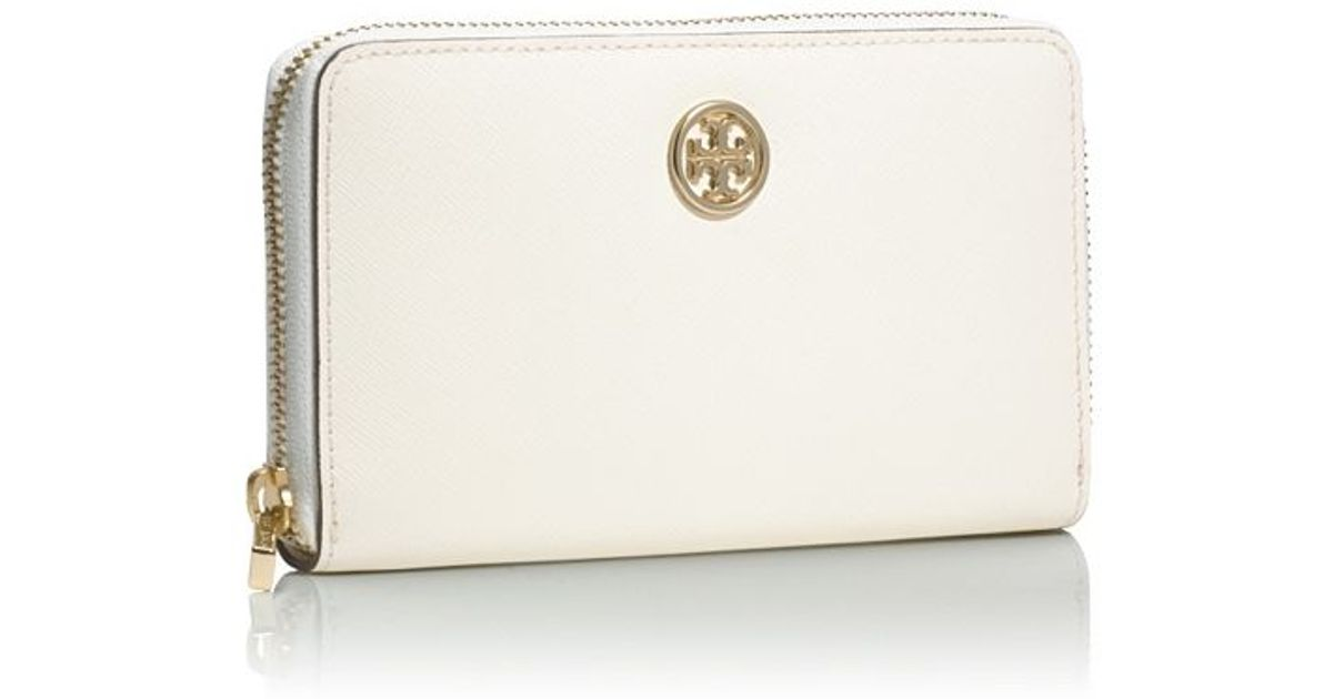 855172b3b5c Lyst - Tory Burch Robinson Mini Zip Continental Wallet in White