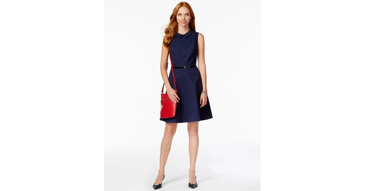 Tommy Hilfiger Sleeveless Belted Fit And Flare Dress In