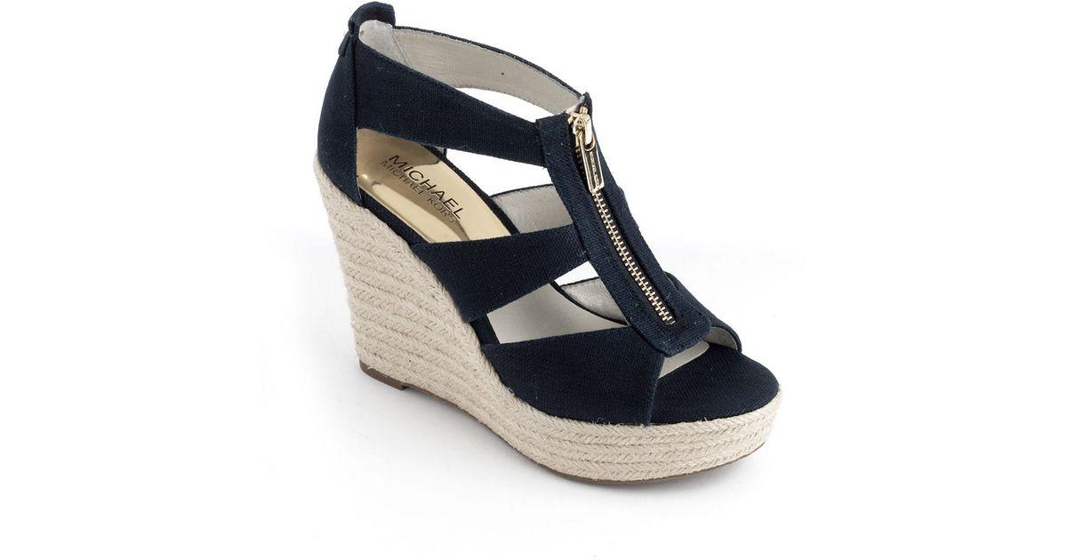 63afd93d9e6e Lyst - Michael Michael Kors Damita Wedge Platform Sandals in Blue