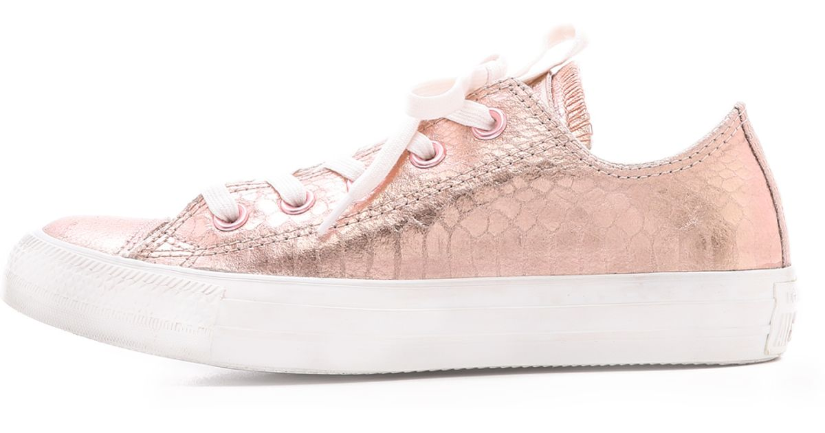 db7f157c727 Converse Low Top Ox Sneakers Rose Gold in Pink - Lyst