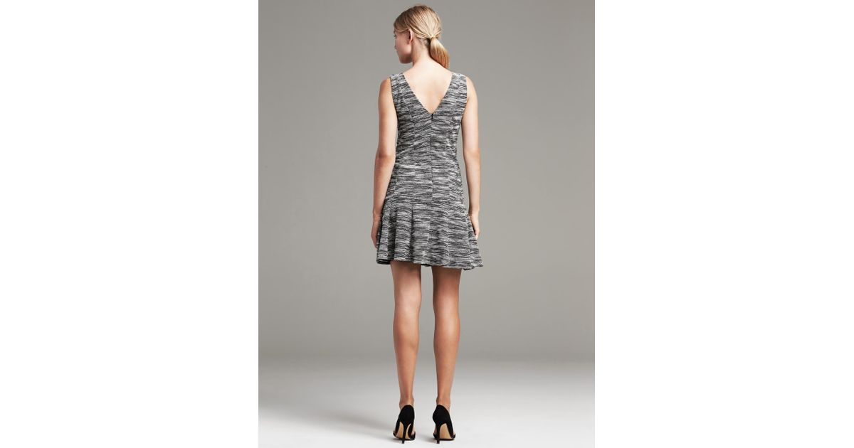 1ac4e2793a7 Banana Republic Marled Tweed Fit-And-Flare Dress in Gray - Lyst