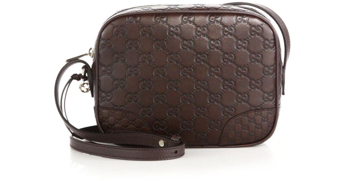 216b7f9d86ed Gucci Bree Ssima Mini Leather Disco Bag in Brown - Lyst