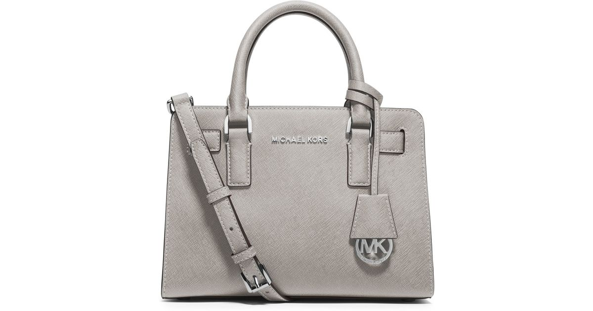 acd19e38abce MICHAEL Michael Kors Dillon Small Saffiano-Leather Satchel in Gray - Lyst