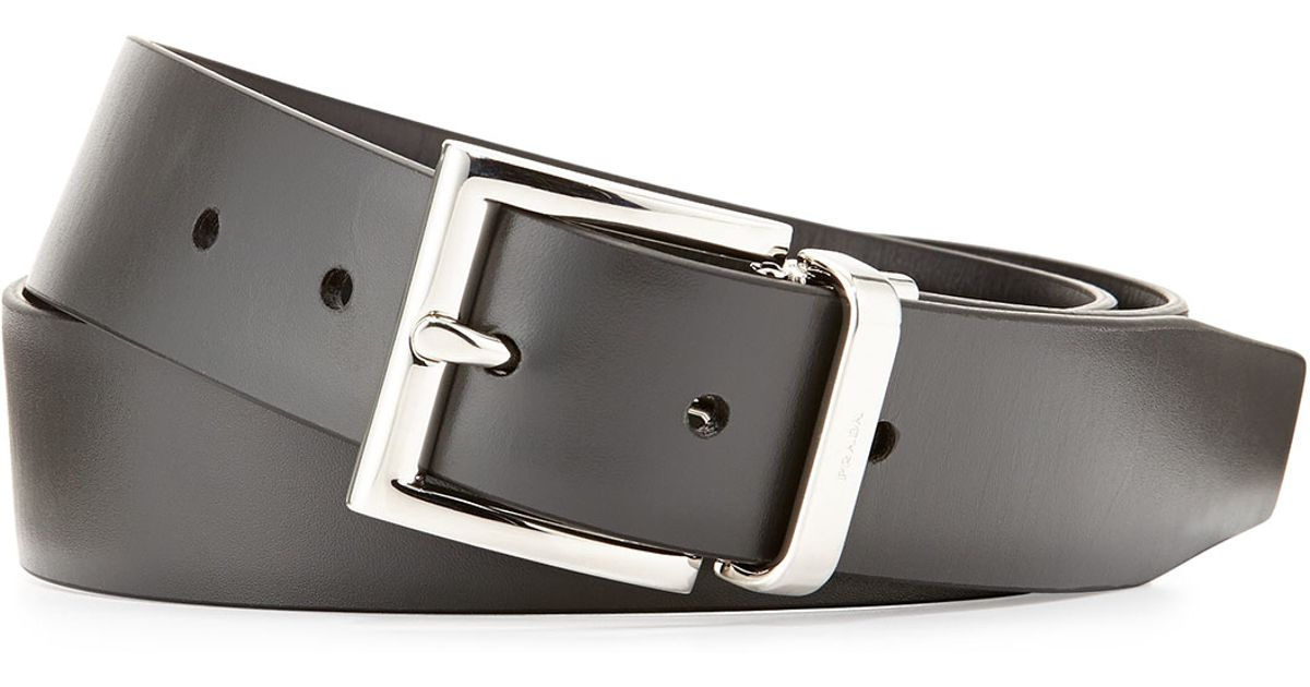 Prada Vitello Luxe Reversible Belt in Gray (BLK/GREY) | Lyst