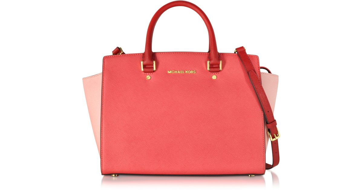 20dbe01486727d Michael Kors Selma Large Color-Block Leather Satchel in Red - Lyst