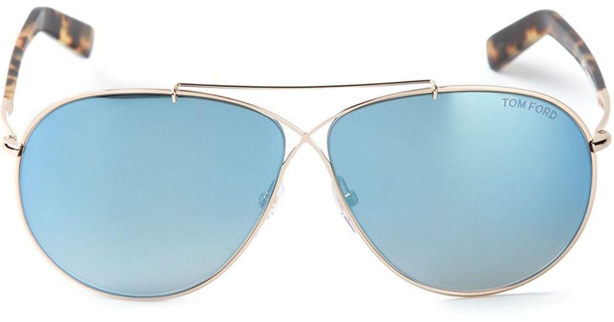 ab9441183c Tom Ford  Eva  Aviator Sunglasses in Blue - Lyst