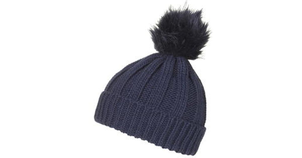 832a1d58f60 TOPSHOP Faux Fur Pom Beanie Hat in Blue - Lyst
