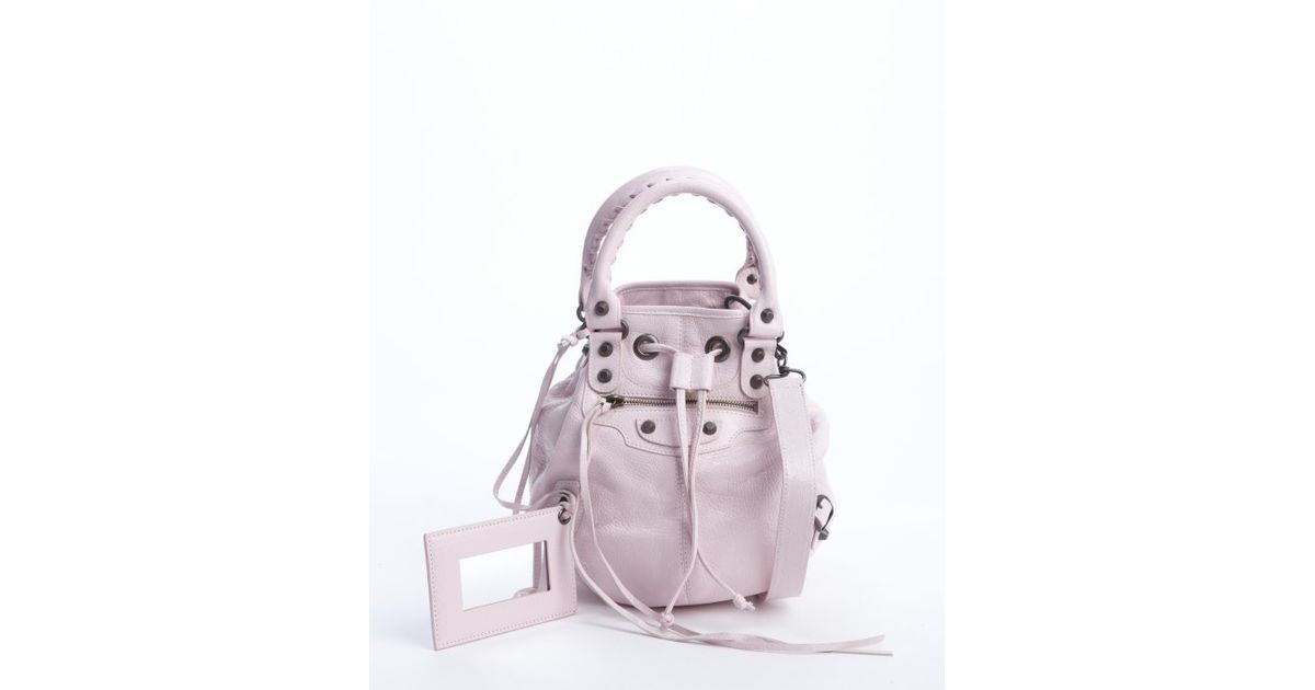 Lyst - Balenciaga Pink Lambskin Mini Pompon Drawstring Convertible Bag in  Purple 8ad3f9118fb96