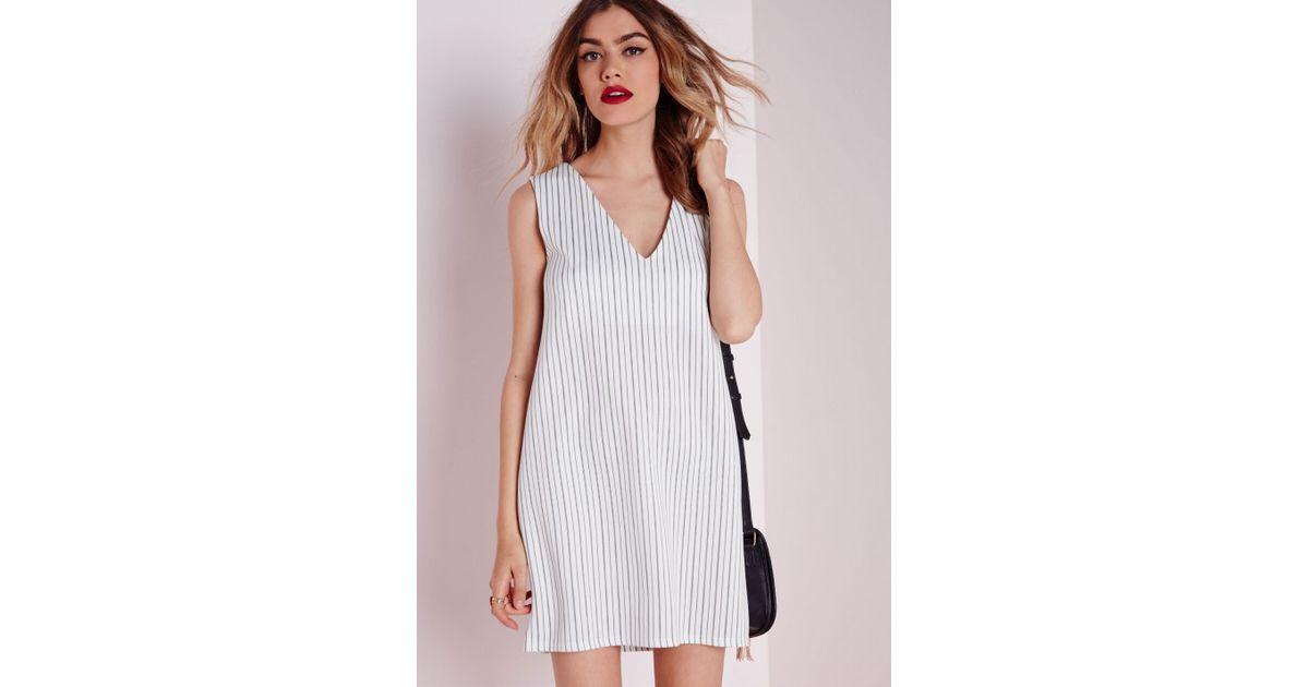 a2f15f1601 Lyst - Missguided Scuba Striped V-neck Shift Dress White in White