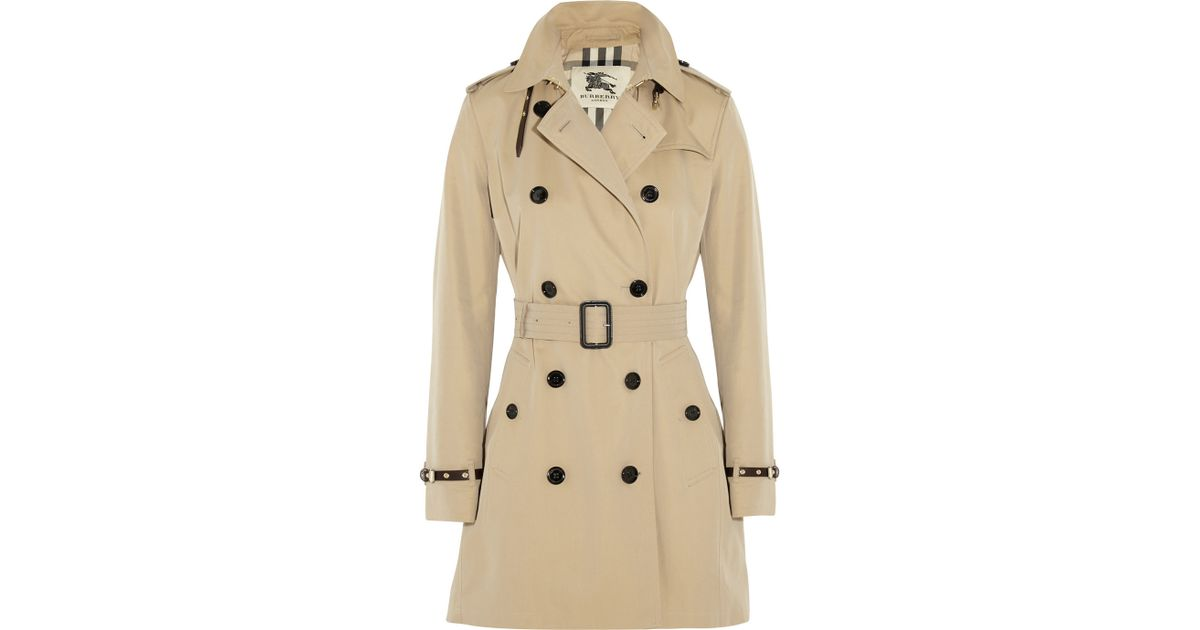 5aa4fd3af Burberry Leather-Trimmed Cotton-Gabardine Trench Coat in Brown - Lyst