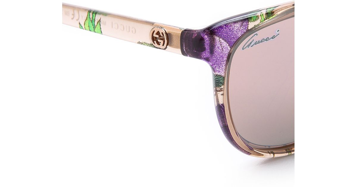 6d2ef33dd3 Lyst - Gucci Floral Sunglasses in Natural
