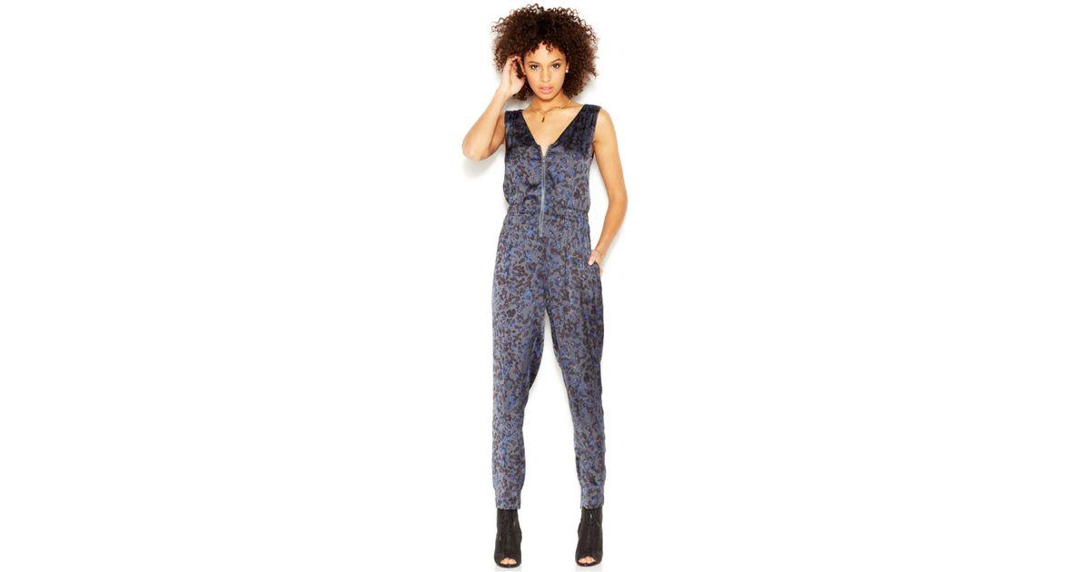 f90bdd057d8 Lyst - RACHEL Rachel Roy Sleeveless Zipper-Front Printed Jumpsuit in Blue