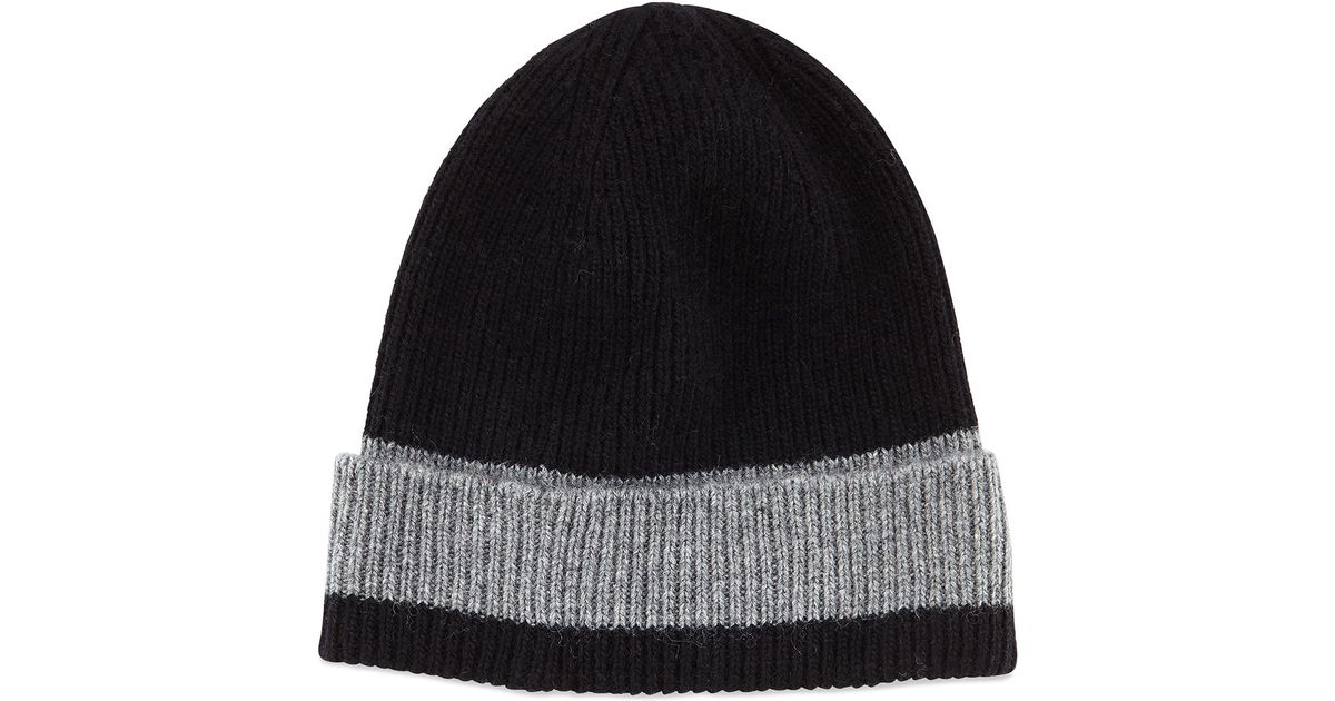 ece2c81884a Lyst - Portolano Ribbed Contrast-stripe Beanie Hat in Gray