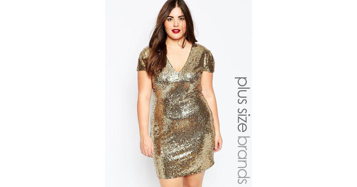 Club L Metallic Plus Size Sequin Dress With V Neck