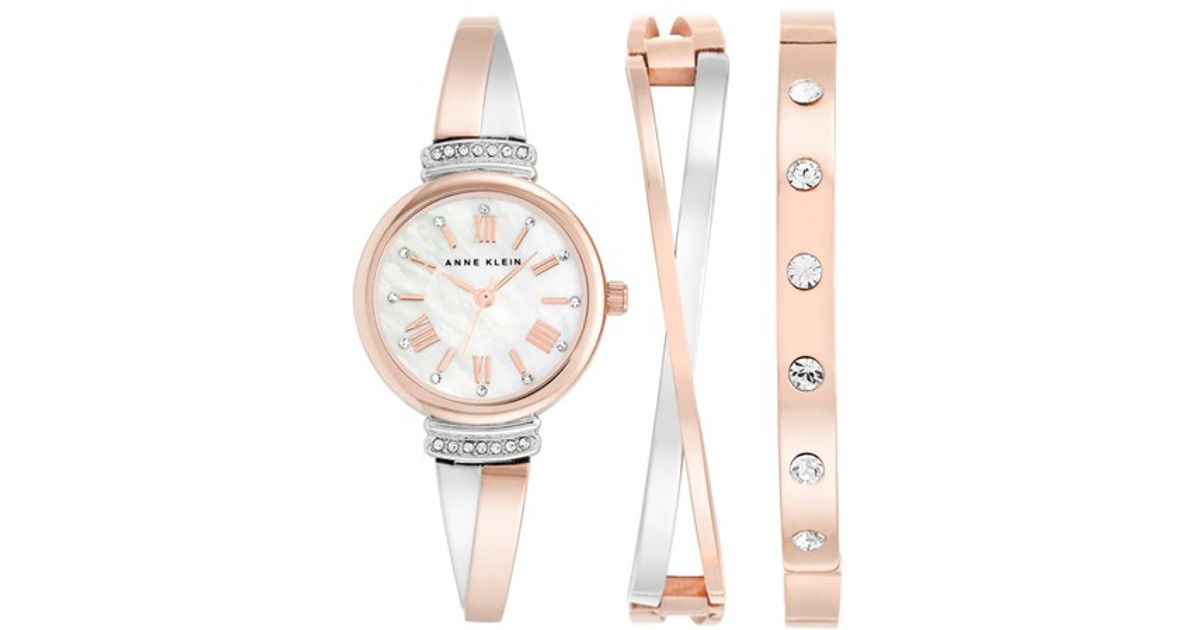 Anne klein round watch bangle set in silver rose gold silver lyst for Anne klein rose gold watch set