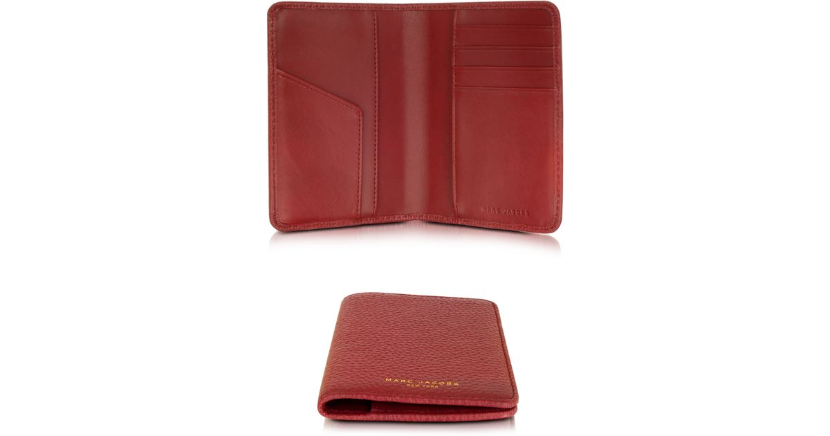7f5873f994b8 Lyst - Marc Jacobs Gotham City Hammered Leather Passport Holder in Red for  Men