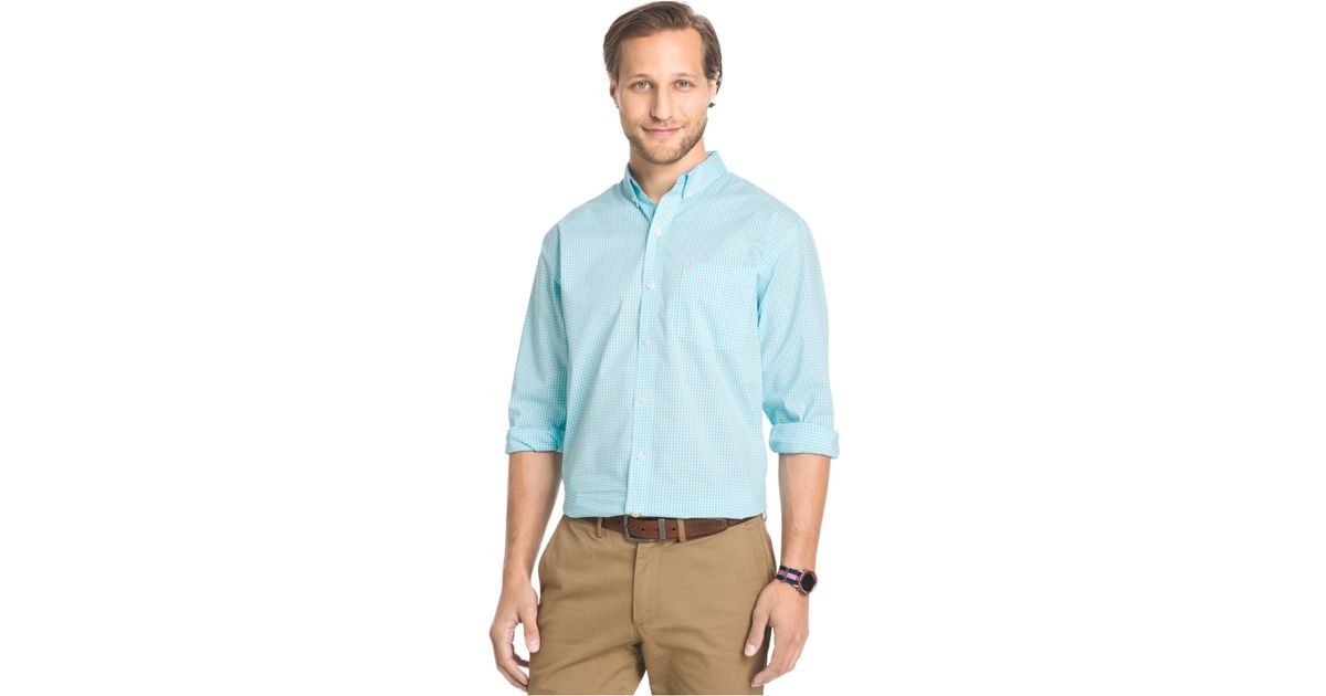 Lyst izod big and tall gingham long sleeve shirt in blue for Big and tall long sleeve shirts