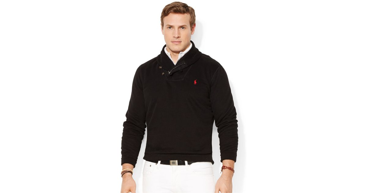 Lyst - Polo Ralph Lauren Big And Tall Pima Fleece Shawl Pullover in Black  for Men