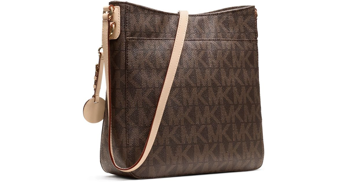 Lyst Michael Kors Jet Set Large Travel Logo Messenger Bag In Brown