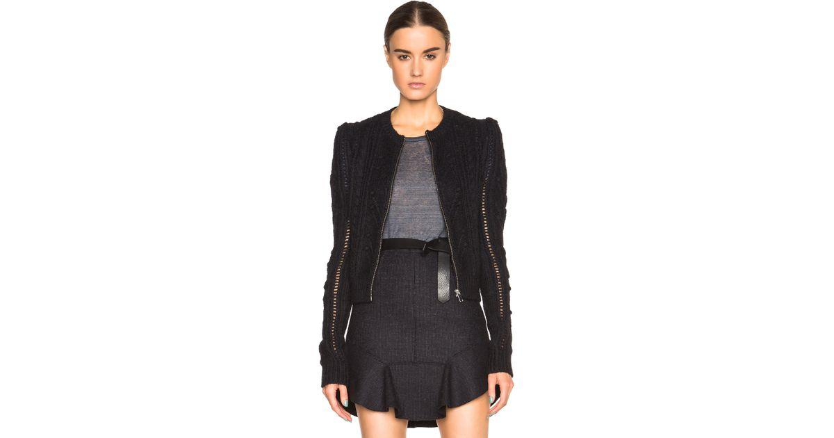 eaf6a3cad Lyst - Isabel Marant Gently Irish Smooth Knit Cardigan in Black