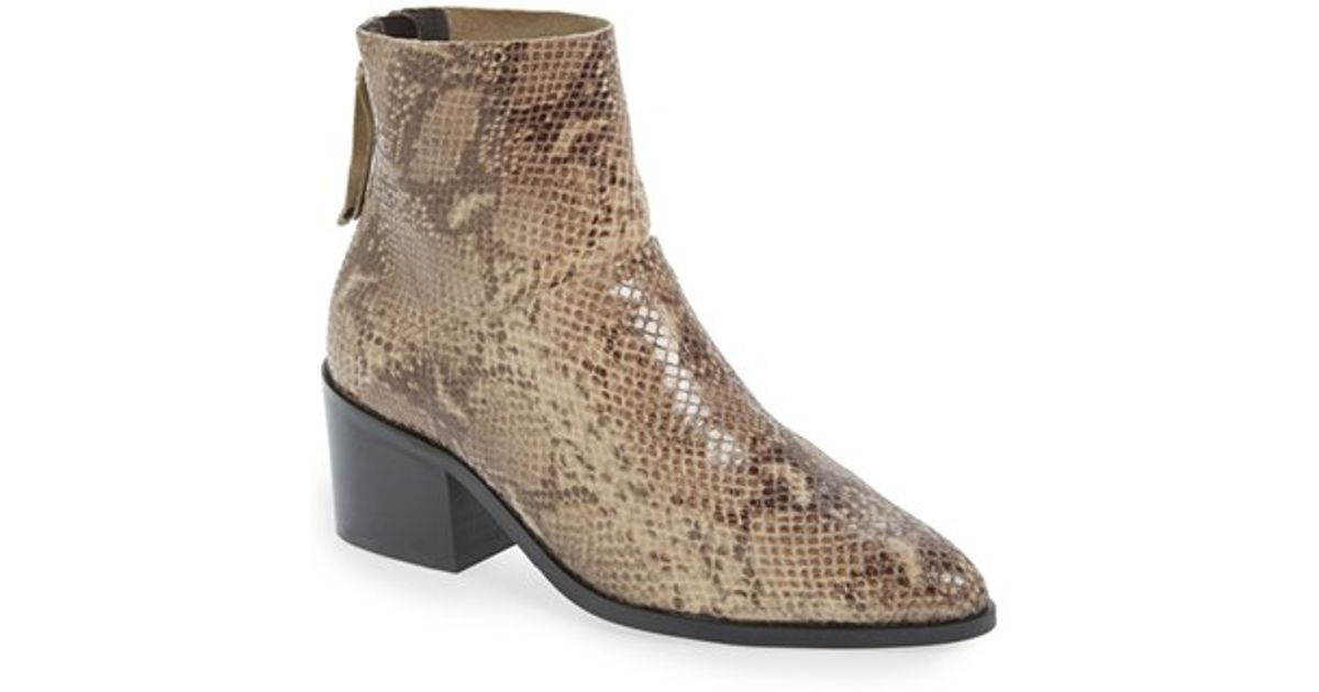 topshop midnight snake embossed ankle boot in brown lyst