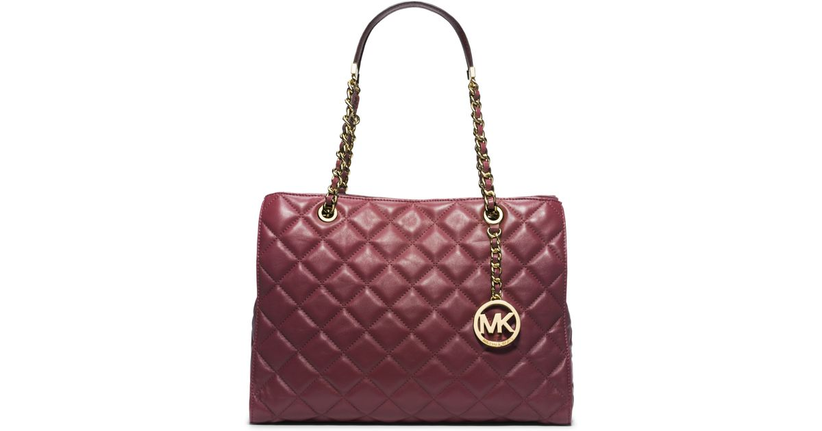 9ec87db6bdae Lyst - Michael Kors Susannah Quilted Leather Large Tote in Red