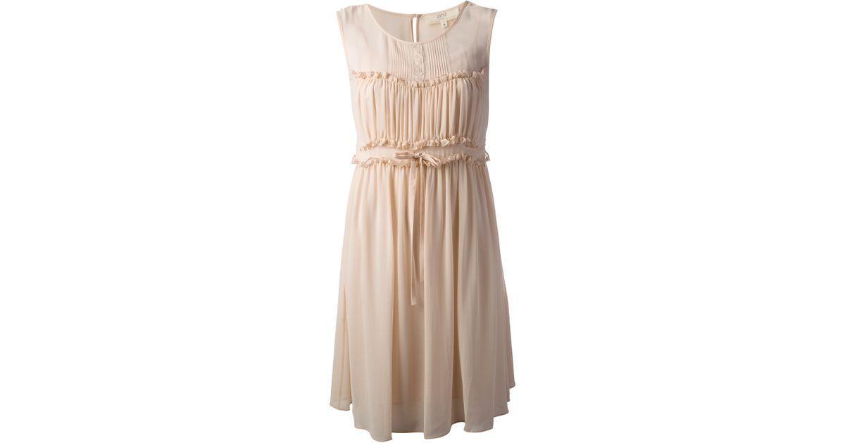 030d5caa98b Vanessa Bruno Athé Sleeveless Ruffle Dress in Natural - Lyst