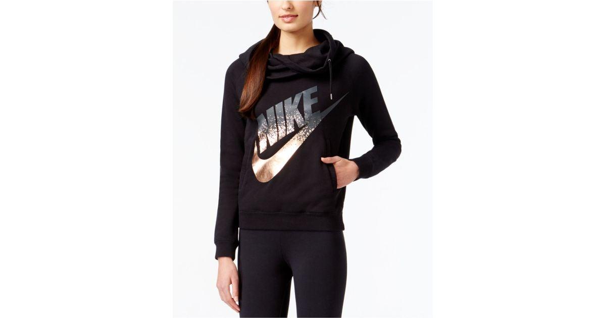 f68b46f9f942 Lyst - Nike Rally Funnel-neck Metallic Logo Hoodie in Black