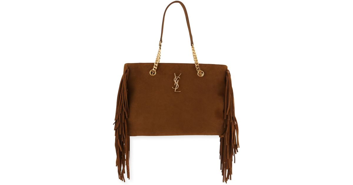 yves saint laurent wallets - Saint laurent Monogram Fringe Suede Chain-strap Shopping Tote Bag ...