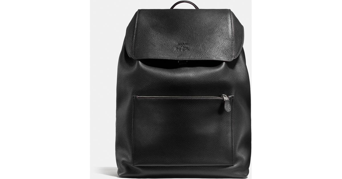 Lyst - COACH Large Manhattan Backpack In Pebble Leather in Black for Men 7c9b70212297c