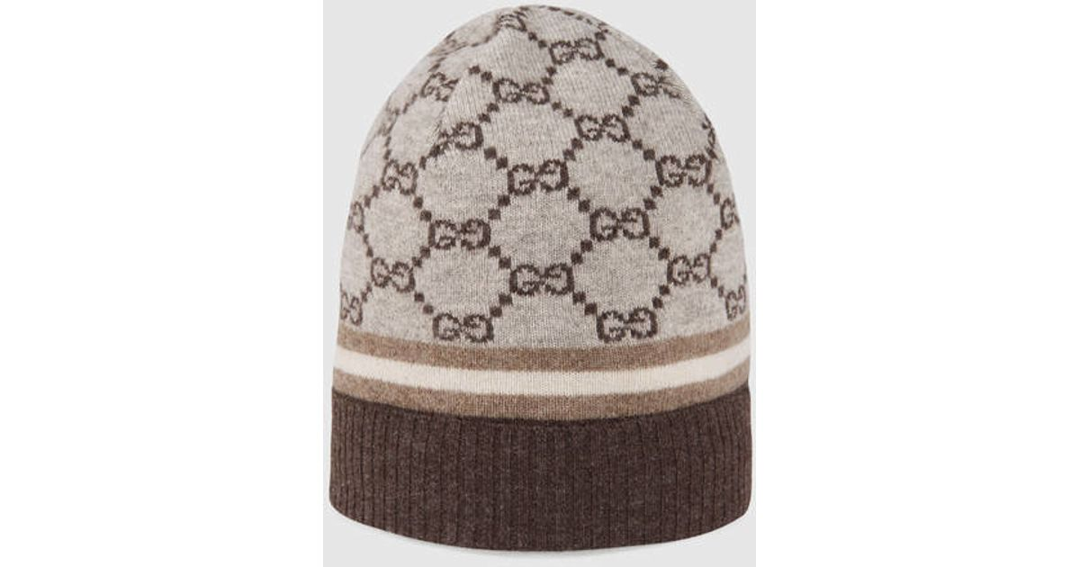 efeb35cbd1e Lyst - Gucci Gg Pattern Hat With Web Detail in Natural for Men