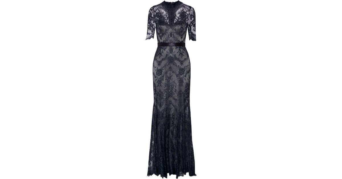 Lyst - Catherine Deane Silk-trimmed Lace Gown in Blue