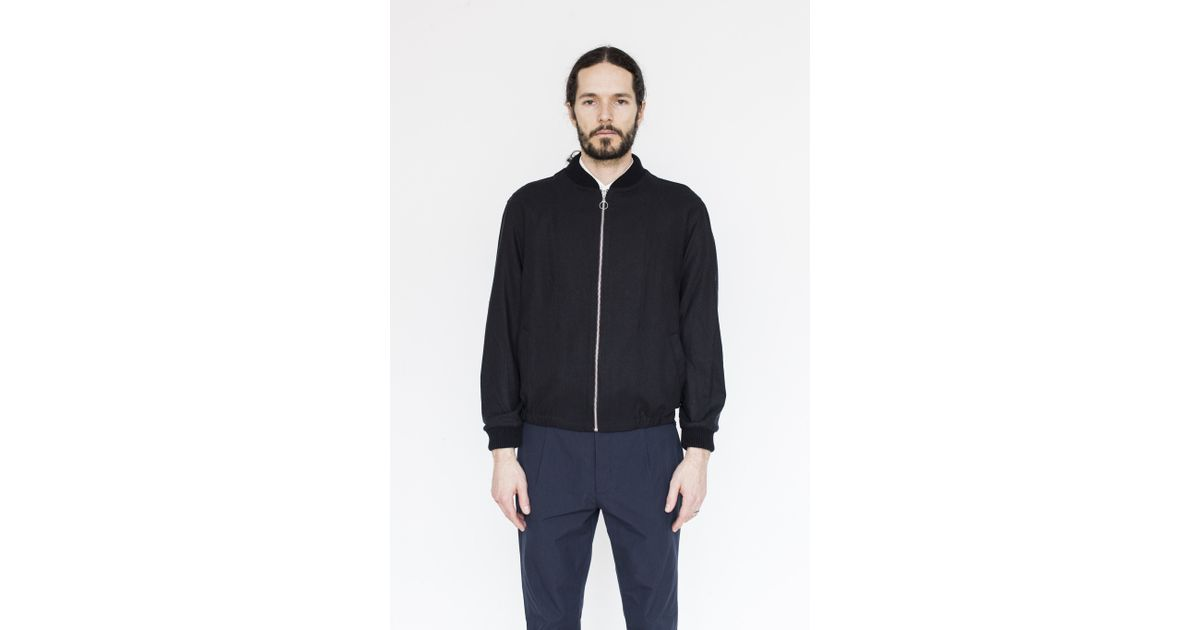 assembly silk zip bomber in blue for lyst