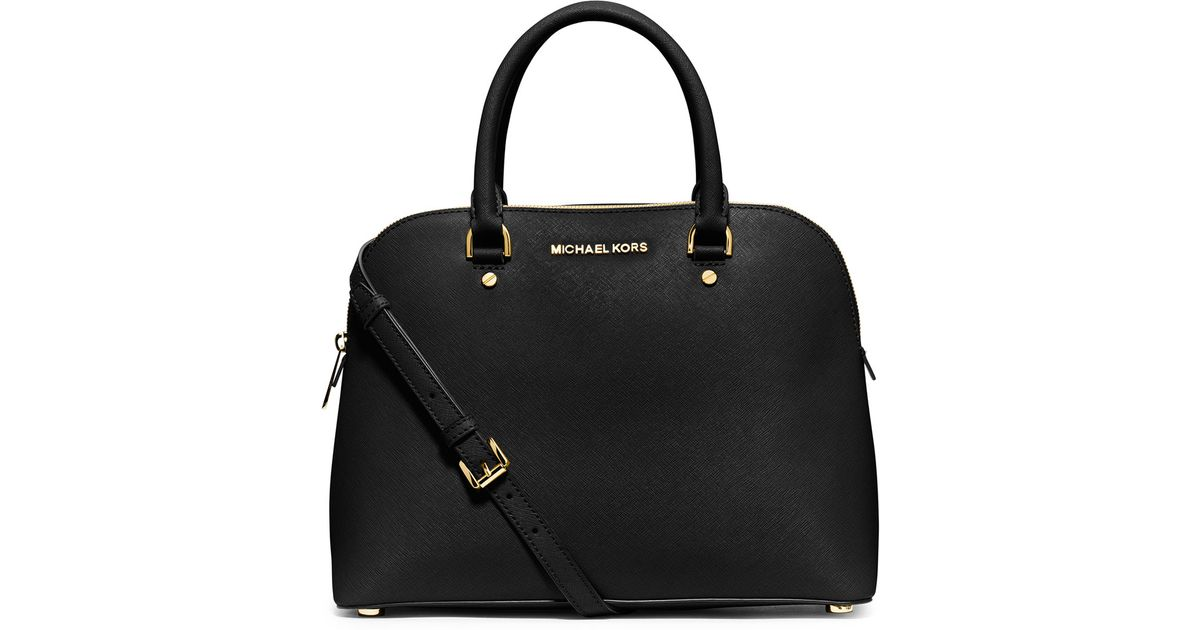 77b238c722e9 ... purchase lyst michael michael kors cindy large dome satchel bag in  black 6de01 38cee