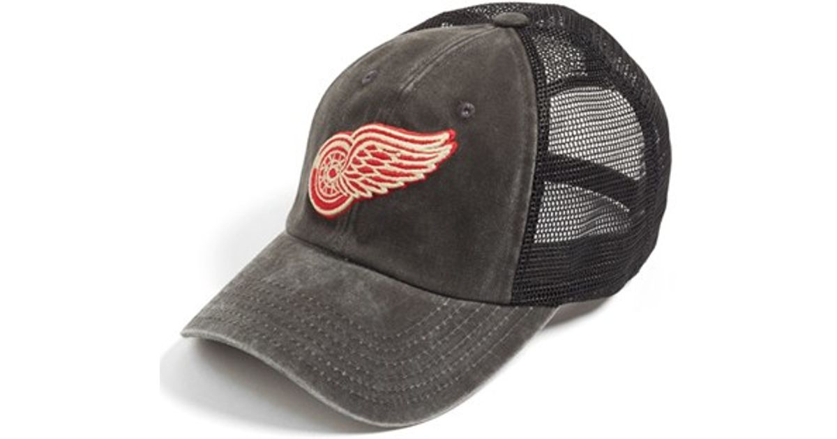 224c4c0760 American Needle  detroit Red Wings - Raglan Bones  Trucker Cap in Black for  Men - Lyst