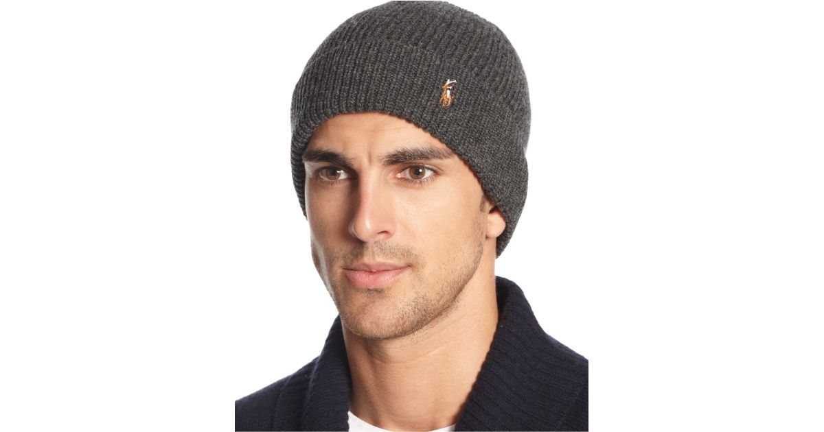 Lyst - Polo Ralph Lauren Signature Merino Cuff Hat in Gray for Men 42b43c33ed5