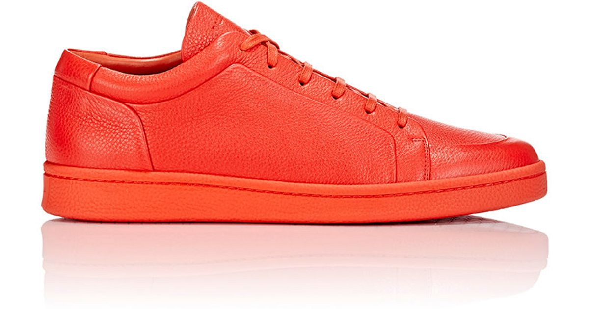 7aeb807938ab Lyst - Balenciaga Leather Monochrome Sneakers in Red for Men