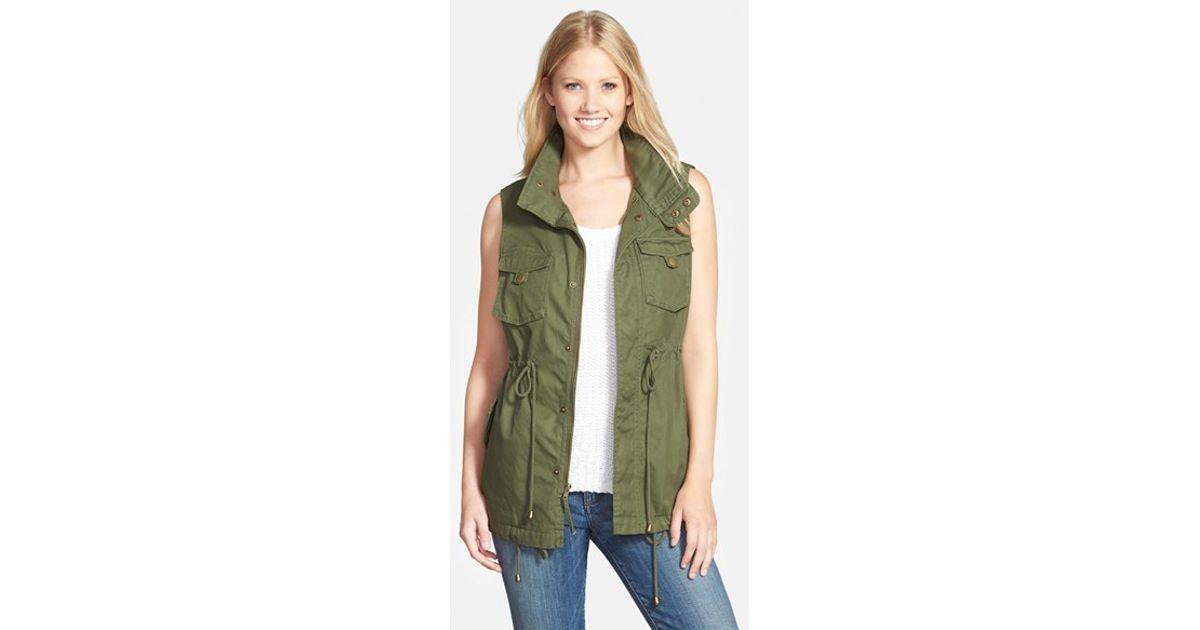 Pleione Cotton Twill Military Vest In Green Lyst