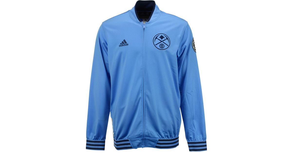 brand new 45805 f87c8 Adidas Originals - Blue Men's Denver Nuggets On Court Warm Up Jacket for  Men - Lyst