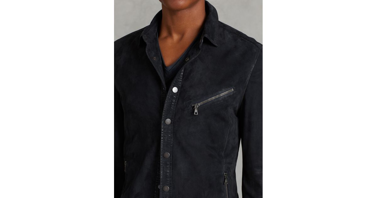 John Varvatos Suede Shirt Jacket In Blue For Men Lyst
