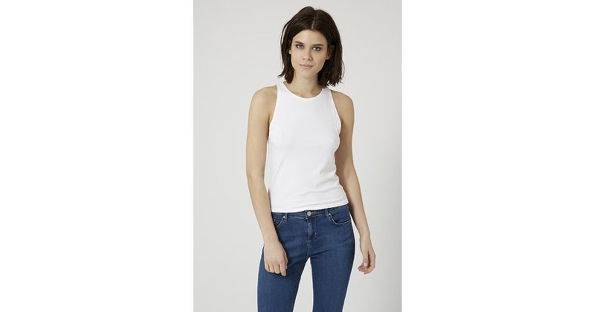 ce1becb9b4c33 Lyst - TOPSHOP Slim Ribbed Tank Top in White