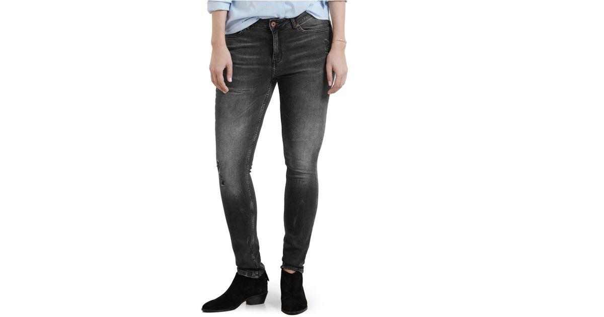 b422b0a7780 Lyst - Violeta by Mango Plus Size Andrea Skinny Dark Gray Wash Jeans in Gray