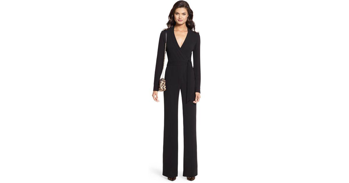 f1d4ff0220b Lyst - Diane von Furstenberg Margot Crepe Wrap Jumpsuit in Black
